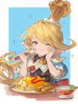 1girl ;t blonde_hair blue_eyes blush charlotta_fenia crown eating flag food food_on_face granblue_fantasy hand_on_own_cheek happy harvin holding holding_spoon long_hair omurice one_eye_closed plate pointy_ears solo sparkle spoon taroji