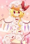 1girl alternate_costume barefoot blonde_hair bow cherry_print commentary_request crystal flandre_scarlet food_print hat hat_bow highres long_hair mob_cap nikorashi-ka pajamas pink_background pink_headwear pink_pajamas print_headwear print_pajamas red_bow red_eyes short_sleeves side_ponytail sitting solo star_(symbol) touhou wings yokozuwari