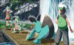 1boy 1girl beanie bike_shorts black_legwear brendan_(pokemon) bridge commentary_request gen_3_pokemon gloves grass green_bandana grovyle hand_up hat holding holding_poke_ball may_(pokemon) poke_ball poke_ball_(basic) pokemon pokemon_(creature) pokemon_(game) pokemon_emerald pokemon_rse rain rowdon shoes socks swampert water waterfall white_headwear