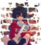 1girl black_eyes black_legwear closed_mouth collared_shirt crossed_legs feet_out_of_frame holding holding_instrument hood hood_down instrument ka_(marukogedago) keyboard_(instrument) long_sleeves looking_at_viewer melodica original purple_hair red_hoodie shirt short_hair sitting socks solo white_shirt wing_collar