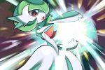 commentary energy gardevoir gen_3_pokemon hand_up hyou_(hyouga617) looking_down mega_gardevoir mega_pokemon open_mouth pokemon pokemon_(creature) red_eyes tongue white_skin