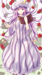 1girl :o bangs book bow breasts crescent crescent_moon_pin double_bun dress floral_background flower frilled_dress frills gradient gradient_background hair_bow hat highres holding holding_book large_breasts long_dress long_hair long_sleeves mirufui mob_cap open_book patchouli_knowledge purple_hair rose solo standing striped striped_dress touhou very_long_hair violet_eyes wide_sleeves
