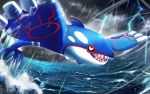 black_sclera clouds commentary_request dark_sky gen_3_pokemon kyogre legendary_pokemon lightning looking_up no_humans open_mouth outdoors pokemon rain rowdon sharp_teeth teeth tongue water water_drop waves yellow_eyes