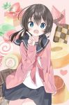 1girl bangs baumkuchen black_hair black_skirt blue_eyes blush cake candy cardigan checkerboard_cookie chocolate commentary_request cookie cowboy_shot drooling fang food fruit gelatin grey_sailor_collar grey_skirt hair_between_eyes heart highres index_finger_raised lollipop long_hair long_sleeves looking_at_viewer macaron neckerchief open_cardigan open_clothes open_mouth original pink_background pink_cardigan pink_sweater pleated_skirt pudding red_neckwear sailor_collar saliva school_uniform serafuku shirt skirt sleeves_past_wrists solo spiral strawberry sweater sweets swiss_roll tantan_men_(dragon) white_shirt