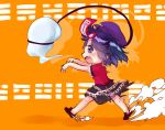 1girl bangs black_skirt cabbie_hat carrot_on_stick chasing colored_shadow commentary_request dust_cloud fang frilled_shirt frilled_skirt frills ghost hat jiangshi medium_hair miyako_yoshika motion_blur ofuda open_mouth orange_background outstretched_arms purple_hair purple_headwear red_shirt running shadow shirt skirt smoke_trail solo star_(symbol) teeth touhou translation_request unime_seaflower violet_eyes zombie_pose