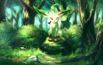 brown_eyes bush closed_mouth commentary_request day flower forest gen_4_pokemon grass leafeon looking_at_viewer nature no_humans outdoors pokemon pokemon_(creature) rock rowdon sitting tree