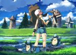 1girl baseball_cap black_vest black_wristband brown_hair clouds commentary_request day denim denim_shorts floating_hair gen_5_pokemon grass hand_up hat hilda_(pokemon) long_hair looking_back looking_down open_mouth outdoors palpitoad pokemon pokemon_(creature) pokemon_(game) pokemon_bw rowdon shorts sidelocks sky standing tongue tree vest water windmill wristband