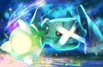 attack black_sclera claws closed_mouth commentary_request gen_3_pokemon glowing incoming_attack looking_at_viewer metagross meteor_mash_(pokemon) no_humans pokemon pokemon_(creature) red_eyes rowdon