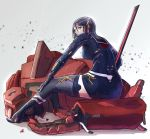 1girl absurdres black_hair destroyed from_behind green_eyes hairband highres katana looking_back mecha mecha_musume moi_moi7 original school_uniform serafuku short_hair sitting solo_focus sword weapon white_hairband