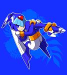 1girl android blue_background blue_eyes capcom full_body gloves helmet high_heels highres leg_hug legs_together leviathan_(rockman) omeehayo rockman rockman_zero simple_background smile solo thigh-highs white_gloves
