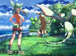 1girl bare_arms bike_shorts black_legwear brown_hair bush clouds commentary_request day fanny_pack floating_hair flygon gen_2_pokemon gen_3_pokemon gloves grass green_bandana hands_on_hips levitate_(pokemon) may_(pokemon) outdoors pokemon pokemon_(creature) pokemon_(game) pokemon_emerald pokemon_rse rowdon shoes sky socks standing sudowoodo