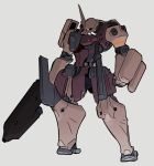 clenched_hand grey_background gundam highres holding holding_sword holding_weapon horns looking_down mecha mobile_suit_gundam moi_moi7 no_humans one-eyed single_horn solo sword weapon zaku zeon