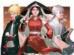 1girl 2boys behindxa black_hair blonde_hair blue_eyes boruto:_naruto_next_generations breasts closed_mouth commentary detached_sleeves grin highres hokage japanese_clothes katana kimono looking_at_viewer mitsuki_(naruto) multiple_boys naruto_(series) older one_eye_closed open_mouth red_eyes sash scar scar_across_eye sharingan sheath sheathed short_hair smile standing sword uchiha_sarada uzumaki_boruto weapon yellow_eyes