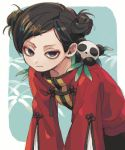 1girl black_eyes black_hair chinese_clothes closed_mouth double_bun hair_ornament hairclip highres jacket jitome ka_(marukogedago) leaf leaning_forward long_sleeves looking_at_viewer original panda red_jacket short_hair solo