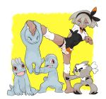 1girl bangs barefoot bea_(pokemon) black_bodysuit black_hairband bodysuit bodysuit_under_clothes bow_hairband collared_shirt commentary_request gen_1_pokemon gen_8_pokemon grey_eyes grey_hair gym_leader hair_between_eyes hairband hanging knee_pads kubfu leg_up legendary_pokemon machop mijumaru_(_seaotter3) pokemon pokemon_(creature) pokemon_(game) pokemon_swsh print_shirt print_shorts shirt short_hair short_sleeves shorts soles tied_shirt toes