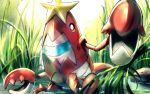 claws closed_mouth commentary_request crawdaunt day gen_3_pokemon highres looking_at_viewer no_humans outdoors pokemon pokemon_(creature) reeds rock rowdon standing wading water
