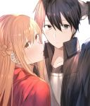 1boy 1girl absurdres arm_up asuna_(sao) bangs black_eyes black_hair black_shirt blonde_hair blush braid brown_eyes cape closed_mouth collared_shirt couple dress_shirt eyebrows_visible_through_hair french_braid hair_between_eyes hand_in_hair hetero highres kirito long_hair open_clothes open_shirt red_cape riko201008 shiny shiny_hair shirt short_hair sword_art_online upper_body wing_collar