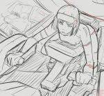 1girl clenched_hands cockpit dated jgsdf_type_07_tank_natchin kukuri_natsuki looking_up mecha moi_moi7 monochrome original pilot_suit sketch spot_color