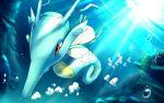 bubble closed_mouth foam gen_2_pokemon gen_3_pokemon highres kingdra light_beam looking_down luvdisc no_humans pokemon pokemon_(creature) red_eyes rowdon swimming underwater
