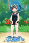 1girl bare_arms blue_hair blush bush commentary_request day goggles goggles_on_head grass green_eyes highres hyou_(hyouga617) lana_(pokemon) one-piece_swimsuit open_mouth outdoors outline pants pants_removed pokemon pokemon_(game) pokemon_sm shiny shiny_skin short_hair solo swimsuit tongue tree wet
