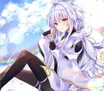 1girl ahoge aomiya bangs black_gloves black_pants blue_sky breasts closed_mouth fate/grand_order fate/prototype fate_(series) fingerless_gloves gloves holding holding_staff knees_up long_hair long_sleeves looking_at_viewer medium_breasts merlin_(fate/prototype) pants petals sitting sky smile staff thighs very_long_hair violet_eyes white_hair white_robe wide_sleeves