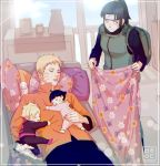 2boys 2girls baby baby_bottle backpack bag behindxa black_hair blanket blonde_hair boruto:_naruto_next_generations bottle closed_eyes closed_mouth commentary_request drooling family father_and_daughter father_and_son headband high_ponytail highres holding holding_blanket husband_and_wife hyuuga_hinata korean_commentary long_hair long_sleeves lying mother_and_daughter mother_and_son multiple_boys multiple_girls naruto_(series) on_back pajamas pillow ponytail sleeping smile uzumaki_boruto uzumaki_himawari uzumaki_naruto whisker_markings