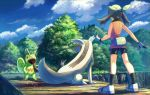 1girl bare_arms bike_shorts black_legwear clouds commentary_request day fanny_pack gen_3_pokemon gloves grass green_bandana kecleon kneepits linoone may_(pokemon) outdoors pokemon pokemon_(creature) pokemon_(game) pokemon_emerald pokemon_rse rowdon shiny shoes sky sleeveless standing tongue tongue_out tree