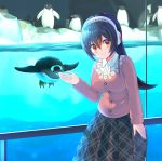 1girl absurdres aquarium bird blush breasts commentary_request earmuffs eyebrows_visible_through_hair gentoo_penguin gentoo_penguin_(kemono_friends) gesture hairband highres ice kemono_friends long_hair looking_at_viewer penguin pleated_skirt skirt smile watayoshi_(suiiho) yellow_eyes