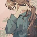 1girl blue_shirt brown_hair closed_eyes closed_mouth fingernails from_side hands_up ka_(marukogedago) long_hair long_sleeves original ponytail profile shirt solo tying_hair upper_body very_long_hair