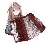1girl accordion bangs blue_eyes girls_frontline instrument light_brown_hair long_hair music playing_instrument rampart1028 sidelocks suomi_kp31_(girls_frontline)
