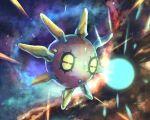 black_sclera commentary_request full_body gen_3_pokemon glowing half-closed_eyes no_humans pokemon pokemon_(creature) red_eyes rowdon solrock spikes star_(sky)