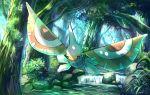 commentary_request day forest full_body gen_3_pokemon levitate_(pokemon) light_beam masquerain nature no_humans outdoors pokemon pokemon_(creature) rock rowdon stream tree water