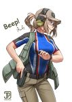 1girl artist_logo baseball_cap belt breasts brown_hair brown_pants collarbone covered_collarbone covered_navel cowboy_shot cz-75 cz-75_(girls_frontline) dated girls_frontline glasses green_eyes gun handgun hat headphones highres jpc khakis linea_alba looking_away medium_breasts open_clothes open_vest pants ponytail shirt short_ponytail sidelocks simple_background solo t-shirt taut_clothes taut_shirt vest watch weapon