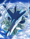 above_clouds claws clouds commentary_request day gen_3_pokemon latios legendary_pokemon mountain no_humans ocean pokemon pokemon_(creature) red_eyes river rowdon water