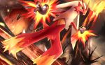 bare_tree blaziken blue_eyes claws clenched_hand commentary_request eruption fur gen_3_pokemon legs_apart molten_rock open_mouth pokemon pokemon_(creature) rowdon standing tongue tree volcano yellow_sclera