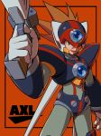 1boy android axl brown_hair capcom character_name cowboy_shot green_eyes gun handgun helmet highres holding holding_weapon hoshi_mikan male_focus open_mouth orange_background pistol robot rockman rockman_x scar smile solo weapon