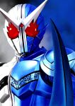 1boy 4ze_meteor armor blue_background close-up highres kamen_rider kamen_rider_double kamen_rider_w looking_down male_focus red_eyes solo tokusatsu v-fin white_background