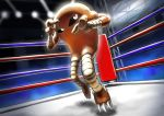 black_sclera boxing_ring claws commentary_request full_body gen_1_pokemon glowing hands_up hitmonlee kaosu_(kaosu0905) light pokemon pokemon_(creature) white_eyes
