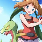 1girl bangs bare_arms blue_eyes blush brown_hair clouds collarbone commentary_request day eyebrows_visible_through_hair eyelashes fanny_pack floating_hair gen_3_pokemon grovyle hairband holding holding_poke_ball looking_at_viewer may_(pokemon) miyama-san open_mouth outdoors poke_ball poke_ball_(basic) pokemon pokemon_(creature) pokemon_(game) pokemon_oras red_hairband red_tank_top shorts sky tank_top teeth white_shorts