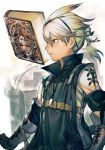 1boy blue_eyes book boots closed_mouth expressionless gauntlets gloves grimoire_weiss hair_ornament hairband hairclip hankuri high_collar katana long_sleeves looking_at_viewer male_focus nier nier_(series) nier_(young) profile short_hair short_ponytail simple_background solo standing sword weapon white_hair