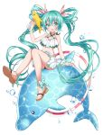 1girl :o animal aqua_eyes aqua_hair artist_name blush bow dolphin full_body hair_between_eyes hair_bow hatsune_miku hoop jewelry kawanobe lace midriff navel necklace polka_dot polka_dot_bow red_bow sandals sitting skirt solo swimsuit twintails vocaloid water_gun white_background white_skirt