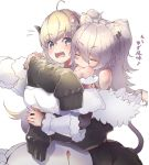 2girls ahoge animal_ears bangs bare_shoulders biting blonde_hair blush breasts closed_eyes detached_sleeves dress ear_clip eyebrows_visible_through_hair fur-trimmed_dress fur-trimmed_jacket fur_trim grey_hair hair_between_eyes hair_ornament hairclip hands_on_another's_arm hololive horns hug hug_from_behind jacket lion_ears lion_girl lion_tail long_hair looking_at_another looking_at_viewer looking_to_the_side moritatsu multiple_girls off-shoulder_jacket open_mouth sheep_girl sheep_horns shishiro_botan simple_background sleeves_past_fingers sleeves_past_wrists tail translation_request tsunomaki_watame upper_body violet_eyes virtual_youtuber white_background white_dress wool yuri