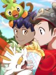 2boys bangs beanie blurry blurry_background brown_eyes brown_hair cable_knit closed_mouth clouds commentary_request dark_skin dark_skinned_male day fingernails gen_8_pokemon grey_headwear grookey hat highres holding hop_(pokemon) jerikuru_yasuda lens_flare looking_to_the_side multiple_boys on_head orange_eyes outdoors pokemon pokemon_(creature) pokemon_(game) pokemon_on_head pokemon_swsh purple_hair red_shirt scorbunny shirt sky smile victor_(pokemon)