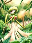 day forest gardevoir gen_3_pokemon hand_up highres light_beam lily_pad looking_at_viewer looking_back nature outdoors pokemon pokemon_(creature) red_eyes rowdon standing tree wading water