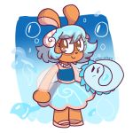 1girl animal_ears artist_name ballet_slippers blue_dress blue_hair blue_skirt brown_eyes bubble cookie-stars cucumber_quest dress eel full_body glasses highres jewelry liquus necklace pearl_necklace pink_footwear princess_nautilus rabbit rabbit_ears seashell_hair_ornament skirt smile standing