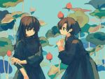2girls black_dress black_eyes black_hair blue_background brown_hair closed_mouth dress eye_contact fingernails flower hand_up ka_(marukogedago) leaf long_sleeves looking_at_another multiple_girls original red_flower smile tulip