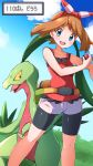 1girl bangs bare_arms bike_shorts blue_eyes blush bow_hairband brown_hair clouds collarbone commentary_request day eyebrows_visible_through_hair eyelashes fanny_pack floating_hair gen_3_pokemon grovyle hairband highres holding holding_poke_ball knees looking_at_viewer may_(pokemon) miyama-san open_mouth outdoors poke_ball poke_ball_(basic) pokemon pokemon_(creature) pokemon_(game) pokemon_oras red_hairband red_tank_top shorts sky tank_top teeth translation_request white_shorts