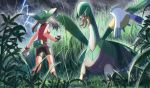 1girl bare_arms bike_shorts black_legwear brown_hair commentary_request dark_sky fanny_pack foliage gen_3_pokemon gloves grass green_bandana holding holding_poke_ball lightning may_(pokemon) outdoors pelipper poke_ball poke_ball_(basic) pokemon pokemon_(creature) pokemon_(game) pokemon_emerald pokemon_rse rain rowdon socks tall_grass tropius twintails
