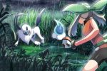 1girl absol bare_arms battle bike_shorts brown_hair castform castform_(rainy) commentary_request foliage gen_3_pokemon gloves grass green_bandana holding holding_poke_ball legs_apart may_(pokemon) poke_ball poke_ball_(basic) pokemon pokemon_(creature) pokemon_(game) pokemon_emerald pokemon_rse puddle rain rowdon shiny standing tall_grass tree twintails water