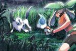 1girl absol bare_arms battle bike_shorts brown_hair castform castform_(rainy) commentary_request foliage gen_3_pokemon gloves grass green_bandana holding holding_poke_ball legs_apart may_(pokemon) poke_ball poke_ball_(basic) pokemon pokemon_(creature) pokemon_(game) pokemon_emerald pokemon_rse puddle rain rowdon shiny standing tall_grass tree twintails water